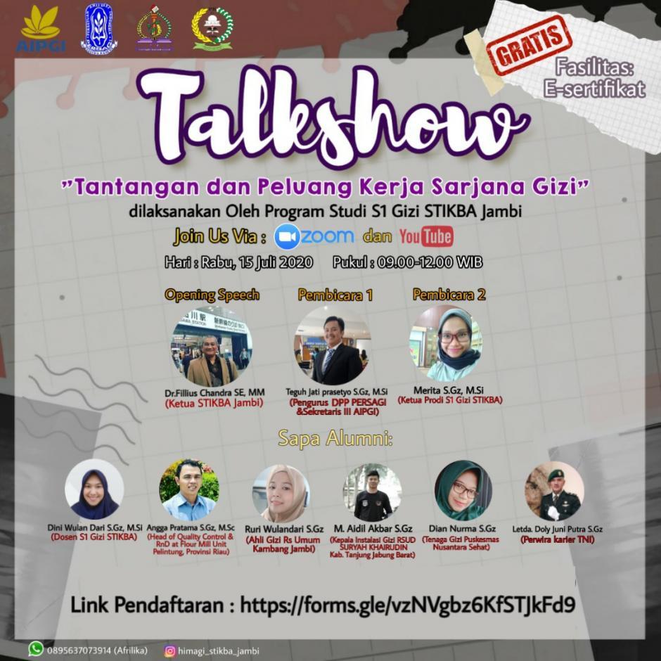 Talkshow: Tantangan dan peluang kerja Sarjana Gizi